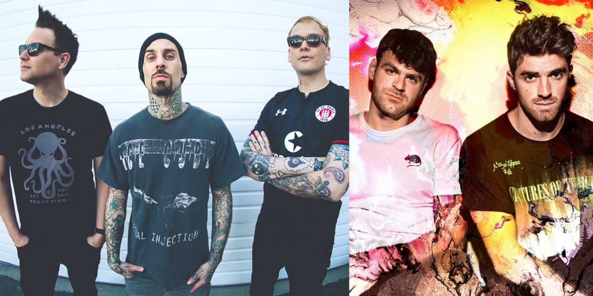 Montagem da banda Blink-182 com o duo The Chaismokers