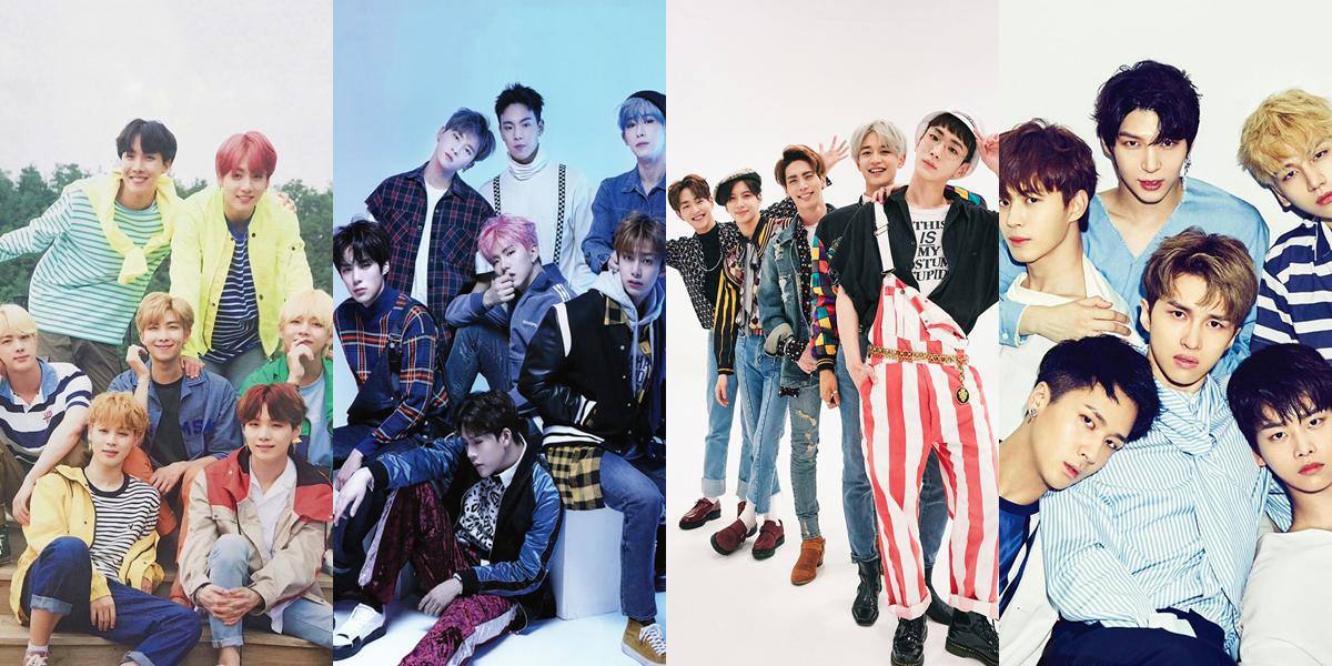 Kpop: Grupos sul-coreanos em uma montagem com quatro fotos para ilustrar o kpop