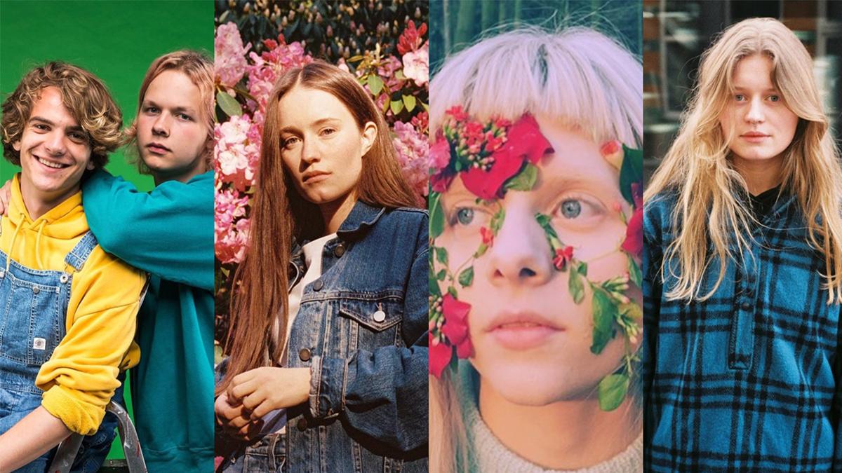 Brenn, Sigrid, Aurora e girl in red para ilustrar a matéria sobre artistas noruegueses