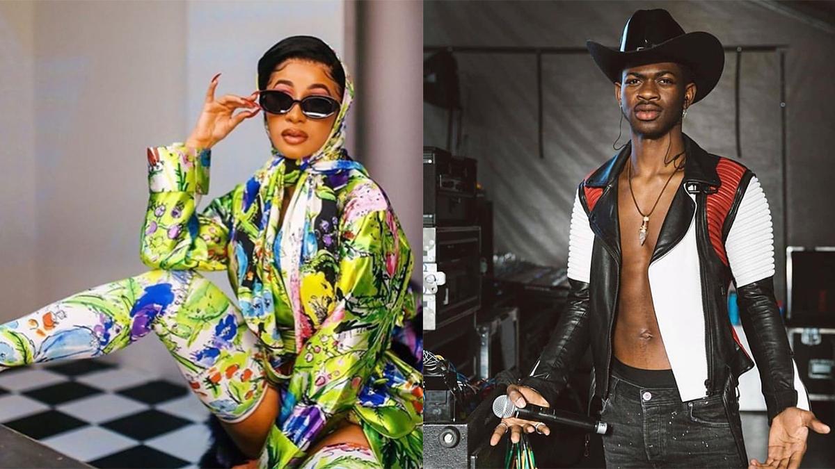 """Cardi B e Lil Nas X em montagem com foto dos dois lado a lado para destacar o single """"Rodeo"""""""