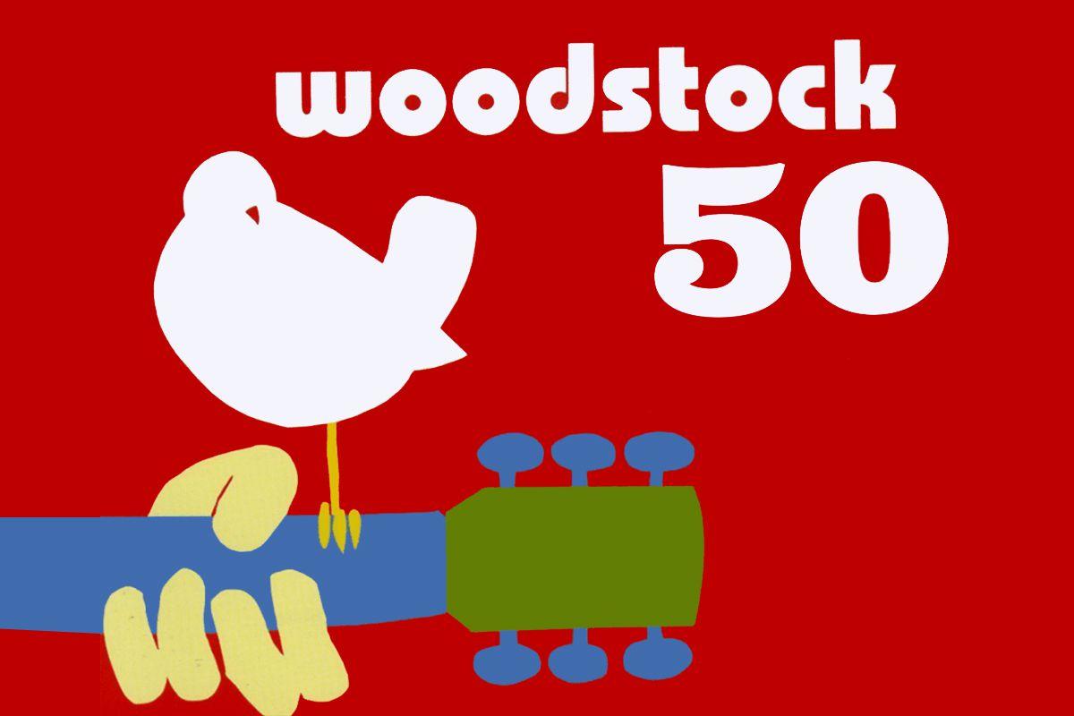 Imagem mostra pássaro em cima de um braço de violão para representar o Woodstock 50