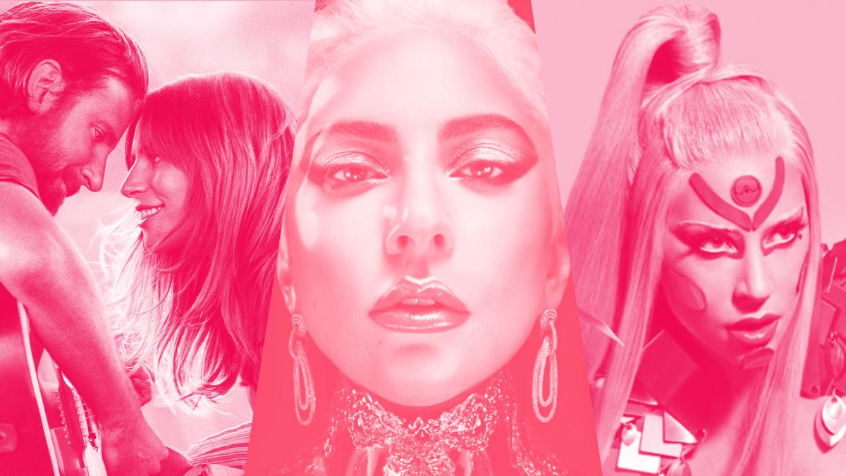 """Da esquerda para a direita: o pôster de """"Nasce Uma Estrela"""", em que Lady Gaga apresentou """"Shallow""""; uma fotografia da cantora para sua marca de maquiagem, Haus Laboratories; e uma imagem promocional do álbum """"Chromatica"""", em que Gaga aparece vestida de rosa."""