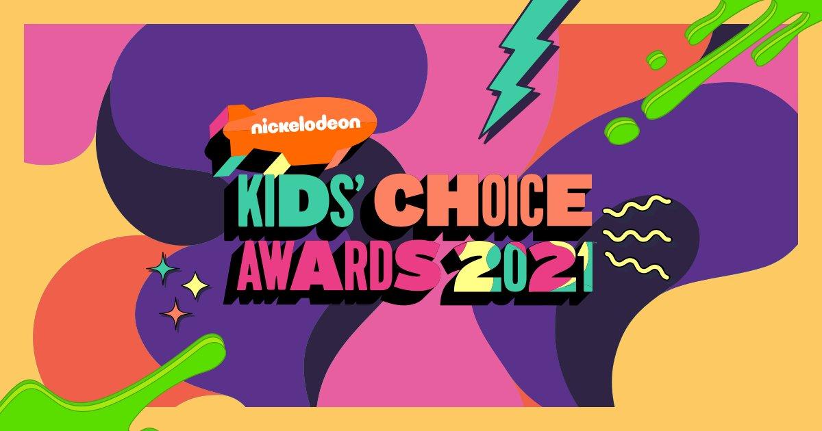 A imagem apresenta uma paleta diversa de cores com roxo, verde, laranja, azul, amarelo, rosa. Ao meio lê-se: Nickelodeon Kids' Choice Awards 2021.